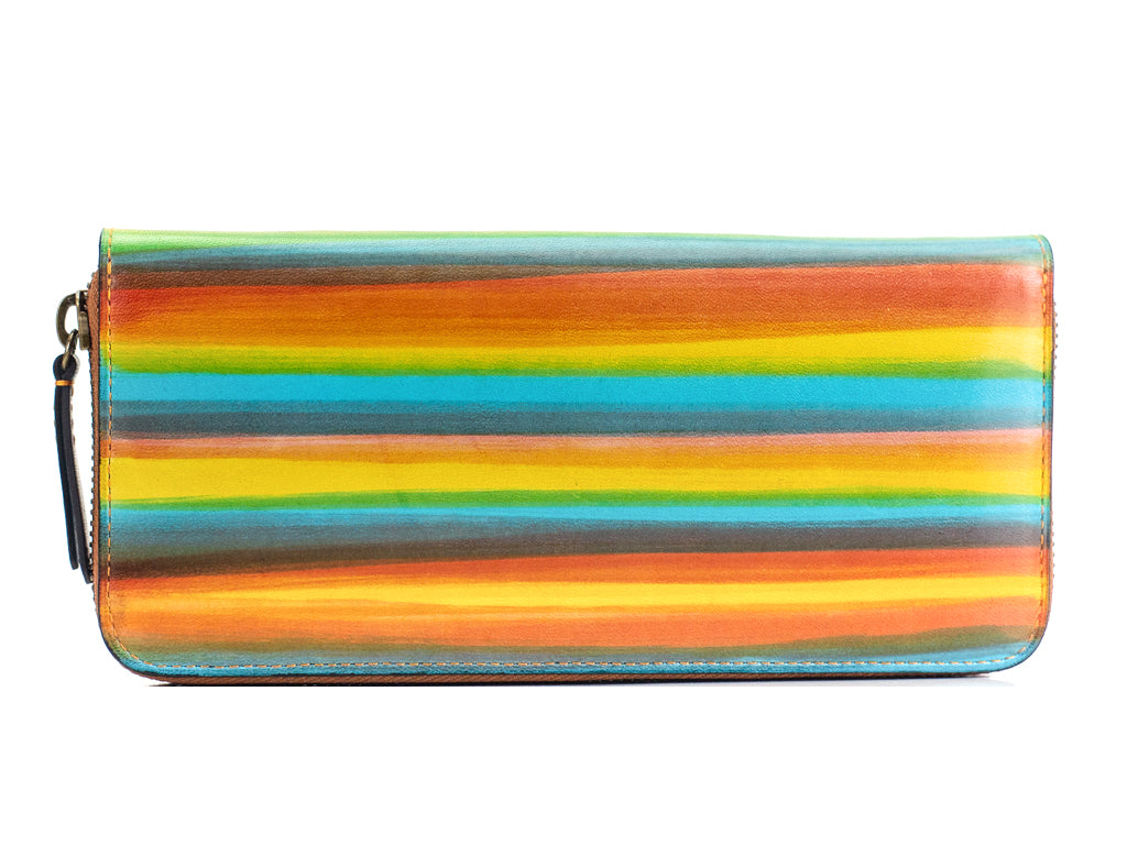 Leather zip travel wallet in rainbow patina