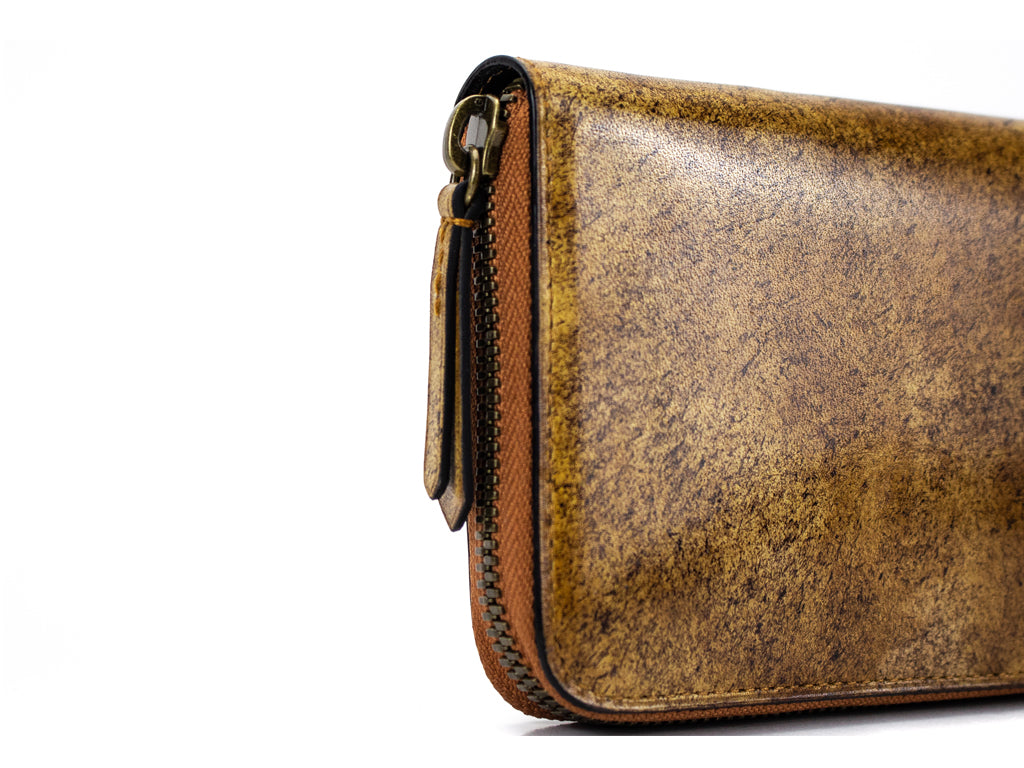 Phileas zip travel wallet hand painted mottled Havana patina