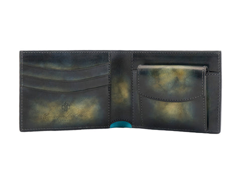 leather wallet coin pocket green over yellow marble colour