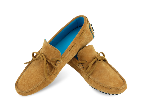 Italian suede driving shoes in tobacco colour