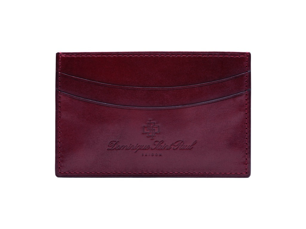 Leather evening wallet hand painted patina in Burgundy