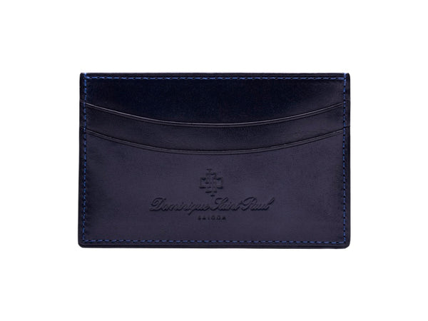 Leather evening wallet in hand painted midnight blue patina