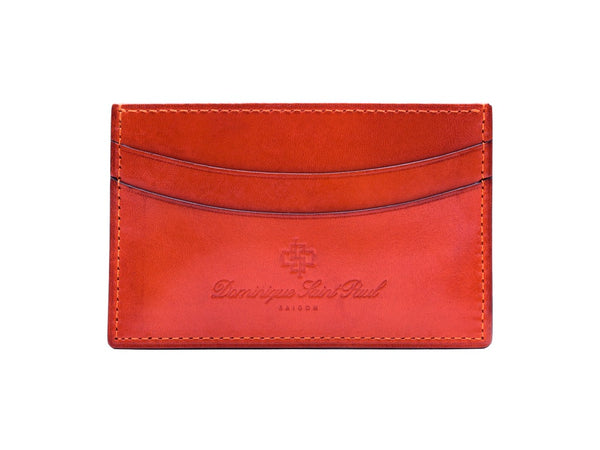 Leather evening wallet in orange hand painted patina colour