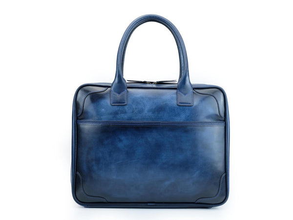 Midnight blue patina hand painted leather bag