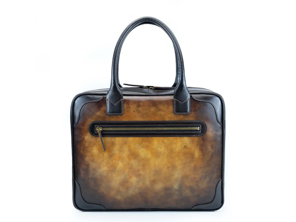 Tobacco patina hand painted leather bag