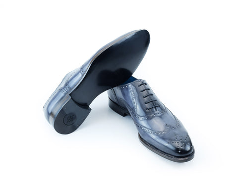 The Countryman full brogue leather dress shoes in grey sky patina - Dominique Saint Paul