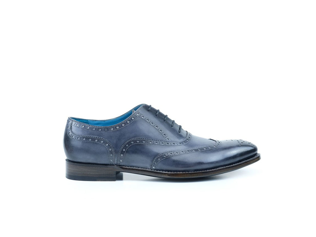 The Countryman full brogue shoes in grey sky patina