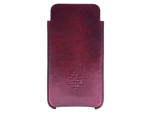 Leather case for iPhone 6 or 7 case hand painted in Burgundy patina