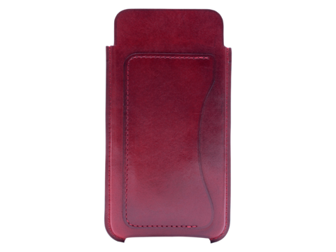 Leather case for most models of iPhone, hand painted in Burgundy