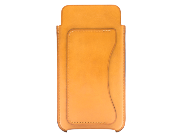 Phone case made by Italy leather in sunflower yellow