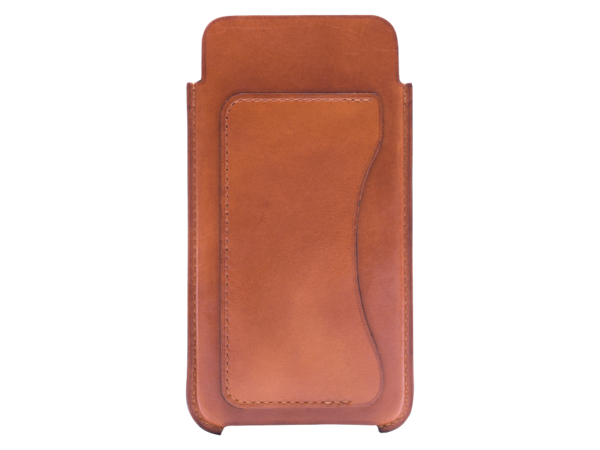 Phone case hand painted in italy leather custom in London Tan patina