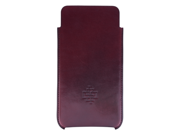 Leather case for iPhone 6 plus or 7 plus hand painted in Burgundy patina