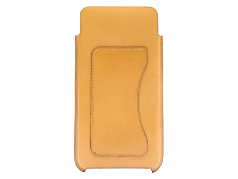 Leather case for iPhone 6 plus or 7 plus hand painted in sunflower yellow patina