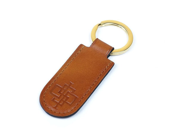 Hanoi key ring patina hand coloured leather fob in London tan