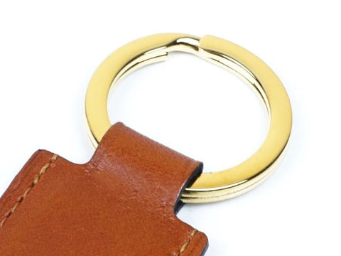 Saigon key ring - London tan patina leather fob & gold ring
