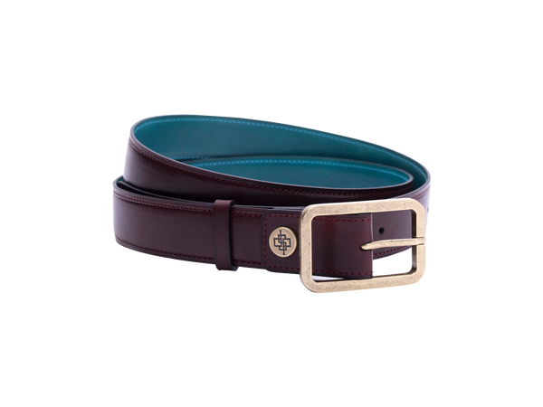 Leather belt in antique brass buckle in burgundy patina colour