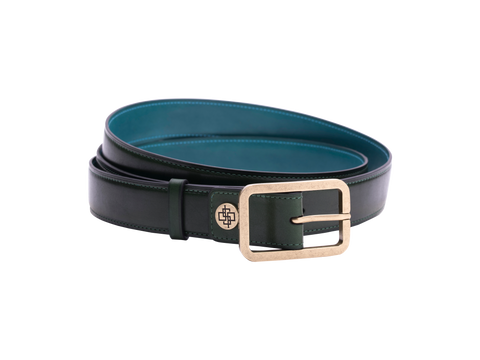 Classic leather belt in antique brass buckle in green patina colour