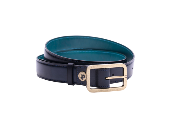 This is one of our leathers belt in 3cm width with antique brass buckle pictured here in midnight blue hand painted patina color. It is made with a special Italian crust leather. The belt is leather outside and the lining side is also leather. Made in Saigon by Dominique Saint Paul Ho Chi Minh City Vietnam.