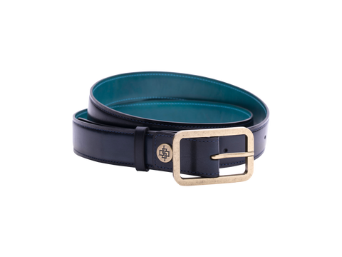 Midnight blue patina belt handmade hand coloured by Saigon artisan