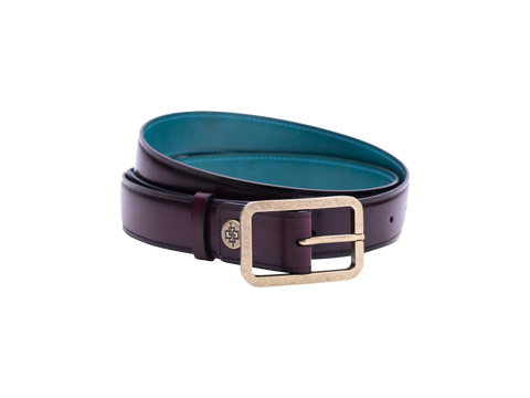 This is one of our leathers belt in 3cm width with antique brass buckle pictured here in purple hand painted patina color. It is made with a special Italian crust leather. The belt is leather outside and the lining side is also leather. Made in Saigon by Dominique Saint Paul Ho Chi Minh City Vietnam.