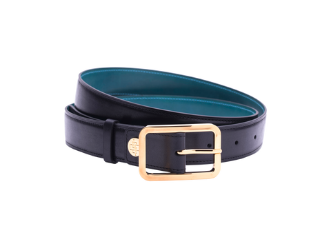 Leather belt with hand coloured patina and our French made custom made buckle in gold. Pictured here in black hand painted patina. This is the 3cm width version which is more suitable for dress and smart casual with trousers. Made with Italian crust leather.