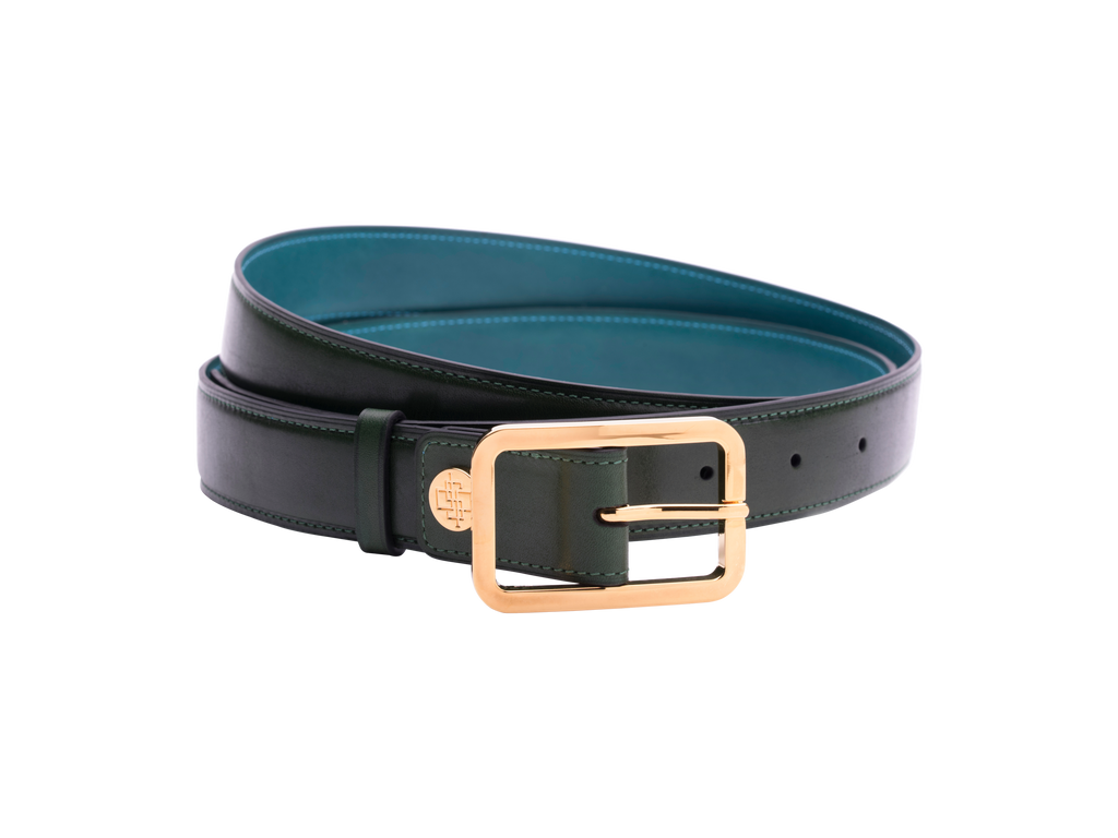 Classic leather belt with hand coloured patina by Dominique Saint Paul