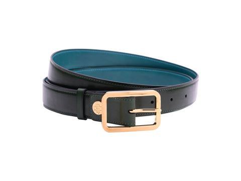 Leather belt with hand coloured patina and our French made custom made buckle in gold. Pictured here in green hand painted color patina. This is the 3cm width version which is more suitable for dress and smart casual with trousers. Made with Italian crust leather.