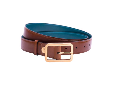 Leather belt with hand coloured patina and our French made custom made buckle in gold. Pictured here in tan hand painted color patina. This is the 3cm width version which is more suitable for dress and smart casual with trousers. Made with Italian crust leather.