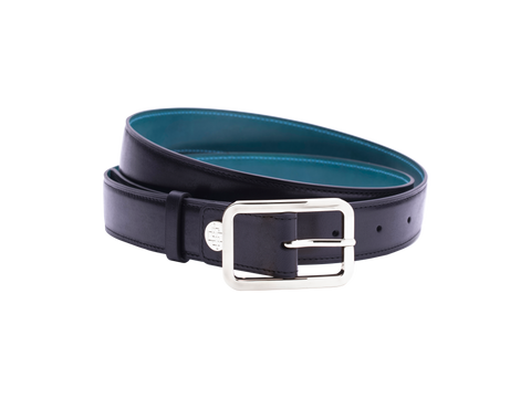 Leather belt with hand coloured patina and our French made custom made buckle in palladium silver. Pictured here in black hand painted color patina. This is the 3cm width version which is more suitable for dress and smart casual with trousers. Made with Italian crust leather.