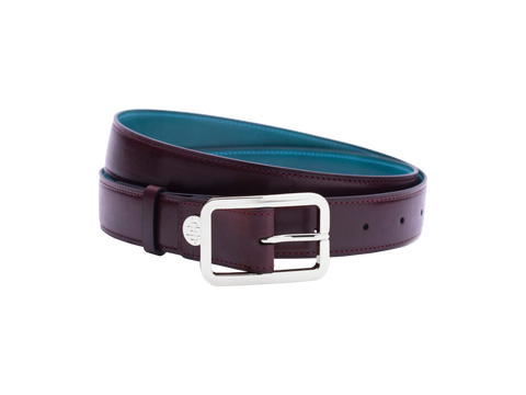 Leather belt with hand coloured patina and our French made custom made buckle in palladium silver. Pictured here in burgundy hand painted color patina. This is the 3cm width version which is more suitable for dress and smart casual with trousers. Made with Italian crust leather.