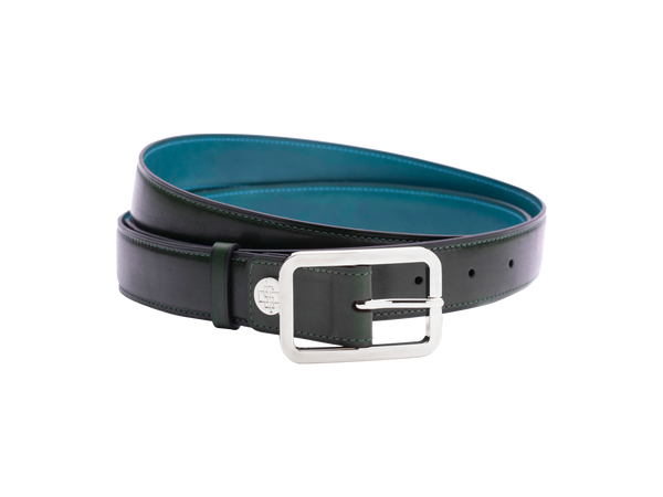 Leather belt with silver buckle custom in green patina