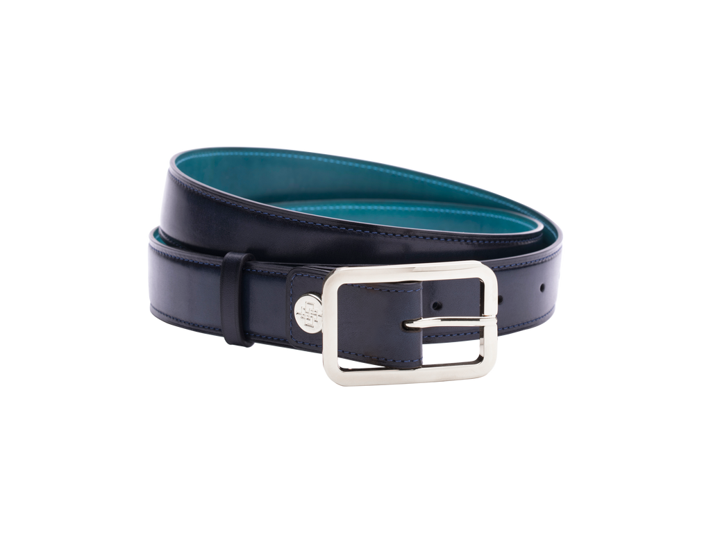 Leather belt with hand colored patina custom in midnight blue with Silver buckle