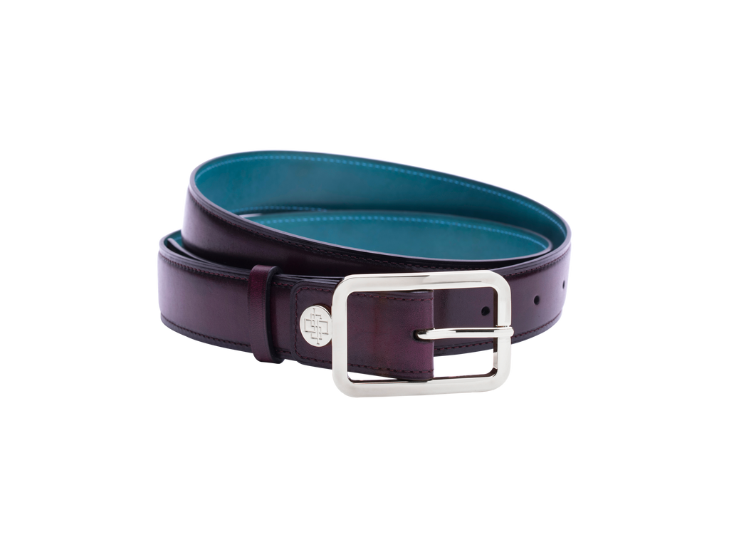 Leather belt with hand coloured patina custom in purple Dominique Saint Paul