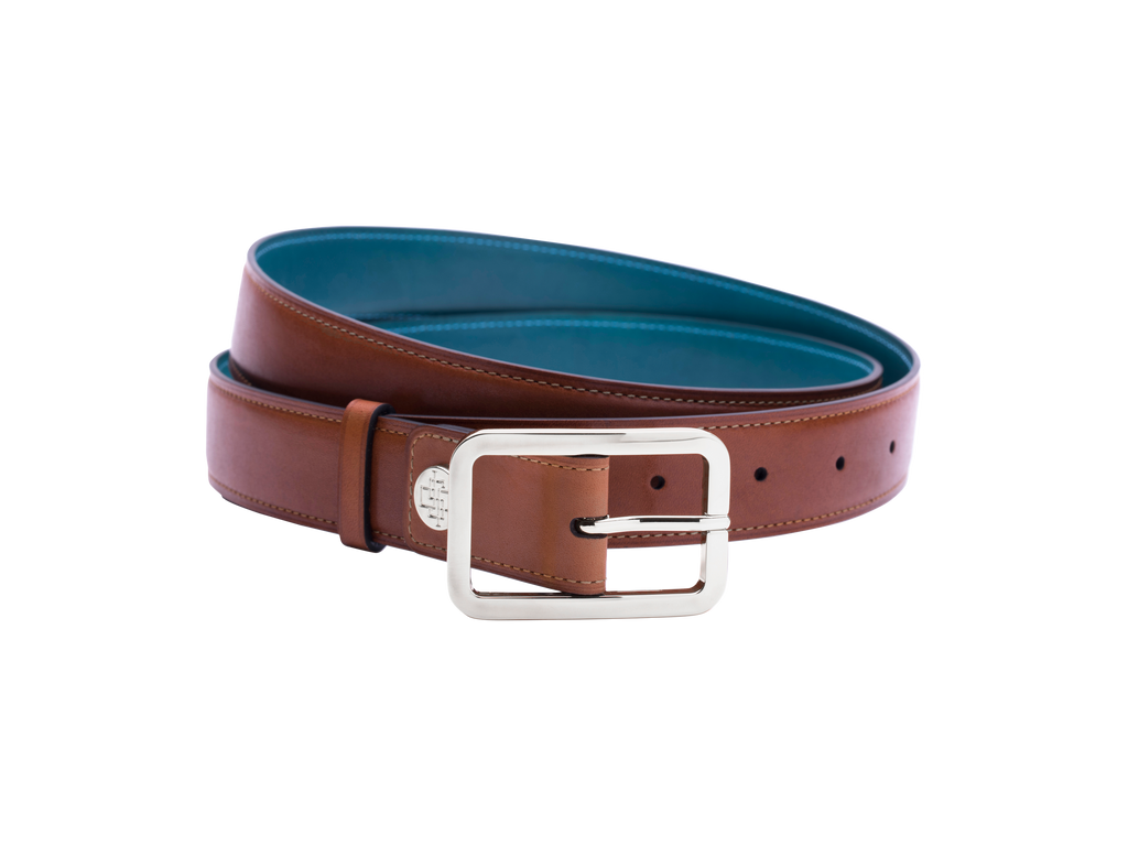London tan belt in silver buckle hand painted by Dominique Saint Paul