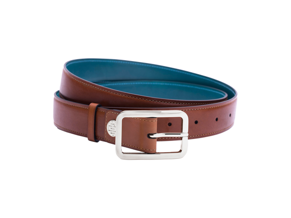 Leather belt with hand coloured patina and our French made custom made buckle in palladium silver. Pictured here in London tan hand painted color patina. This is the 3cm width version which is more suitable for dress and smart casual with trousers. Made with Italian crust leather.