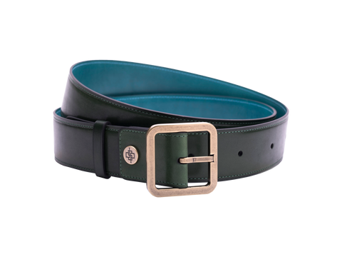 Classic leather belt 4cm in hand painted colour Green patina