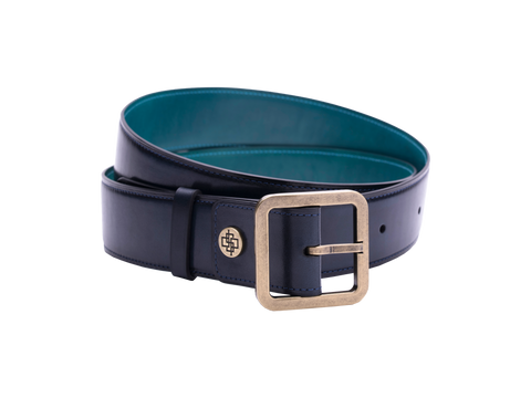 Hand painted leather belt custom in midnight blue patina colour
