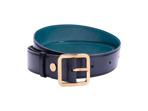 Our artisan made leather belt to wear by both men and women with hand painted coloured patina and French made custom made buckle in gold. These 4cm width belts are good for jeans and chinos. Italian crust leather and also the lining side is real leather. Here shown in midnight blue hand painted hand colored patina.