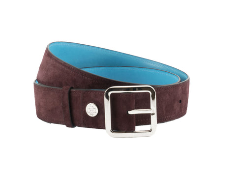 Belt 4cm width with palladium silver buckle in suede