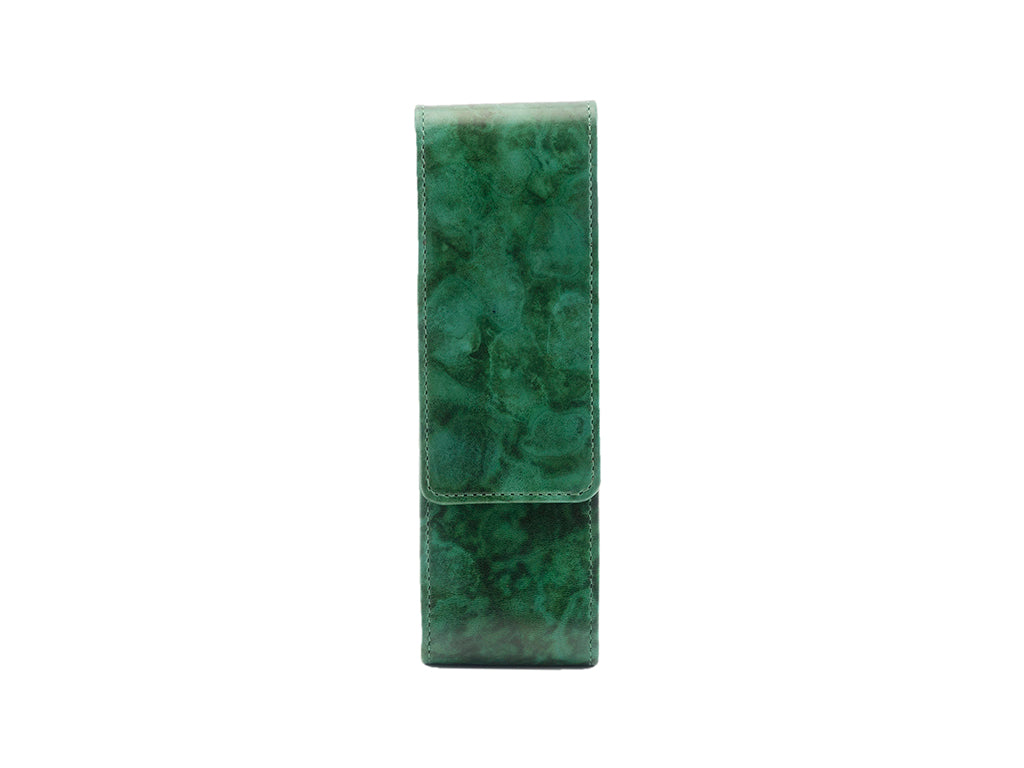 Leather pen case in hand painted mottled green patina
