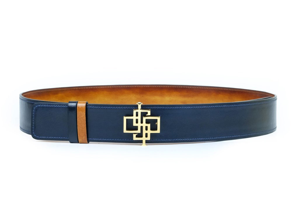 Reversible logo belt full leather with patina hand colour