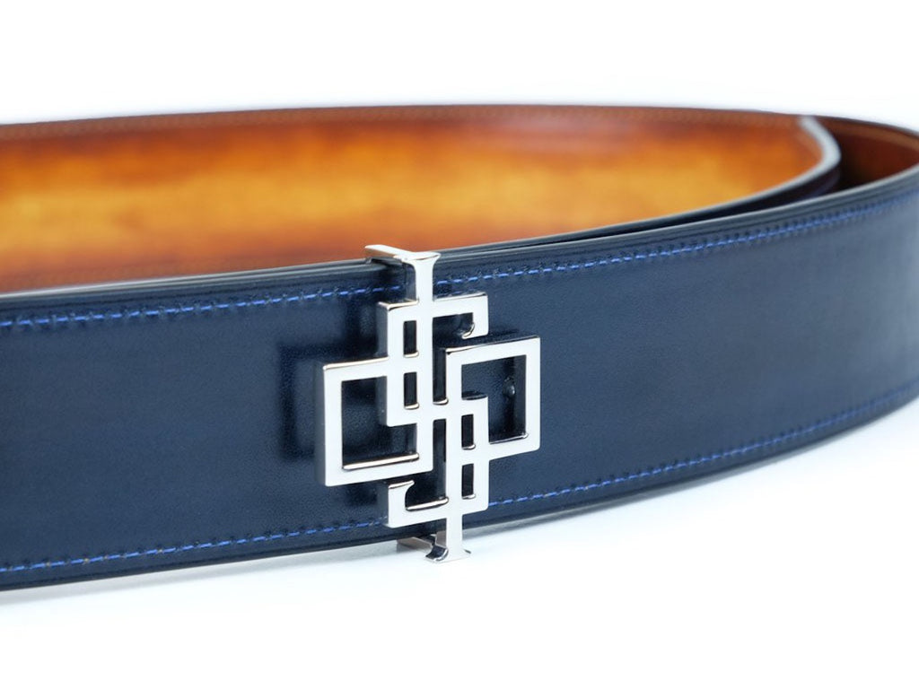 DSP reversible logo belt, hand painted patina leather, palladium buckle