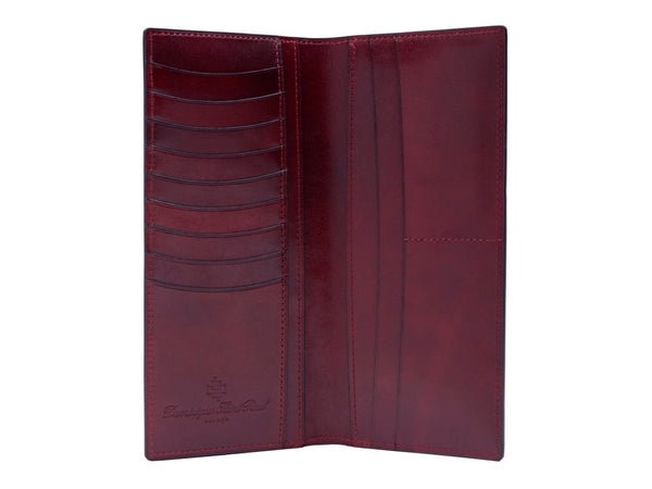 Leather long jacket wallet hand painted patina Burgundy