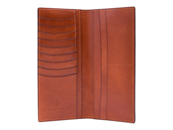 Long jacket wallet leather hand painted patina in London tan