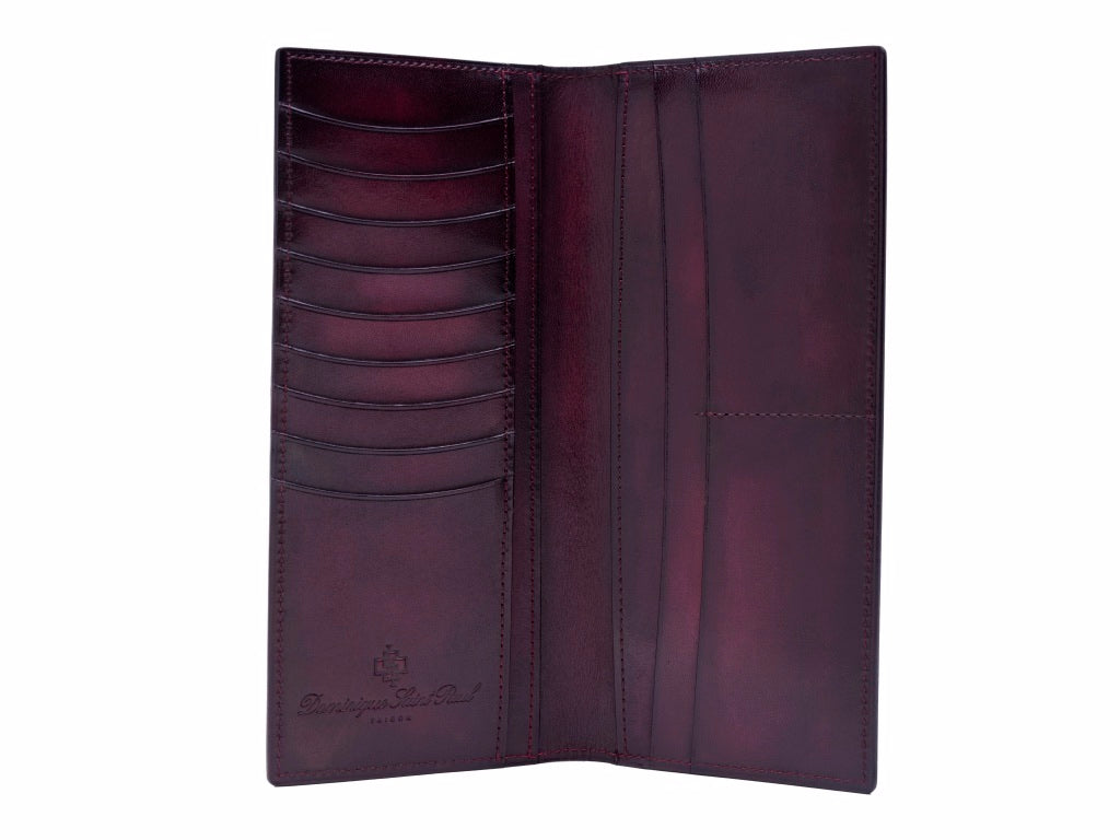 Long jacket wallet leather hand painted patina in purple