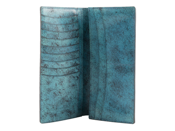 Leather long jacket wallet hand painted patina turquoise