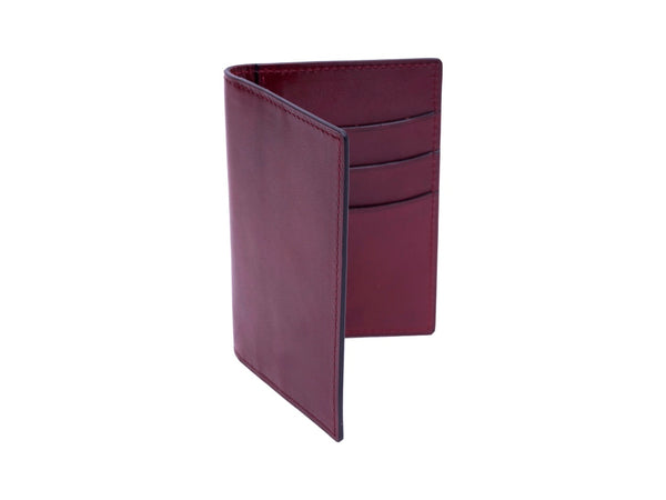 Patina hand coloured leather mini wallet card holder in Burgundy