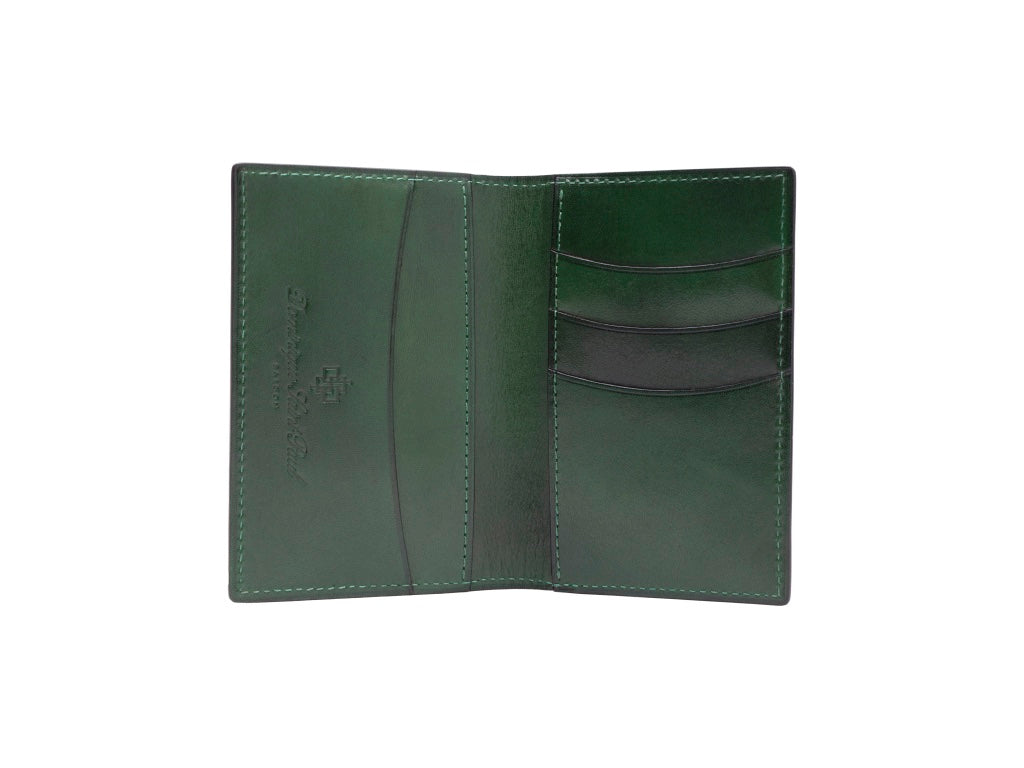 Patina hand coloured leather mini wallet card holder in green