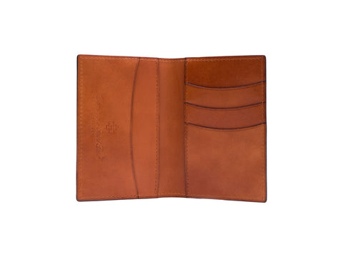 Patina hand coloured leather mini wallet in London tan