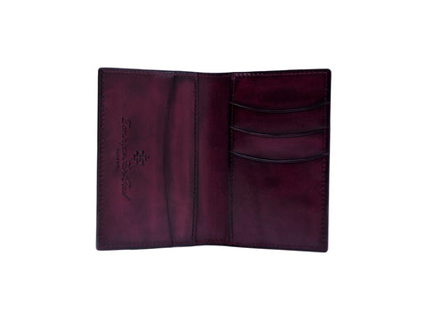 Patina hand coloured leather mini wallet card holder in purple